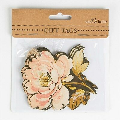 Set of 6 Sass & Belle Shabby Chic French Rose Flower Shaped Gift Tags/Labels