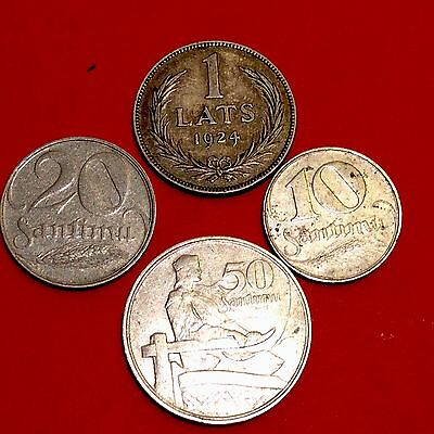 Latvia  nice lot of 4 old coins .