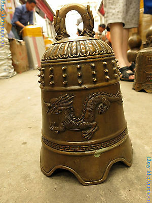 China brass sculpture carved fine copper Feng Shui Yuan two dragon bell Statue