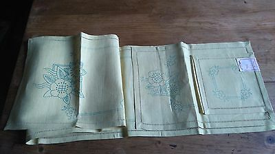 New Unused Vintage Pretty Mats/ Runner To Embroider  Floral Design Yellow Linen