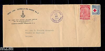 Honduras; Cover from the North Star Masonic Lodge #5 to Belize on 1944.