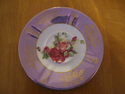 Royal Halsey ~ 6 Inch Decorative Plate ~ Roses With Purple Surround And Gold