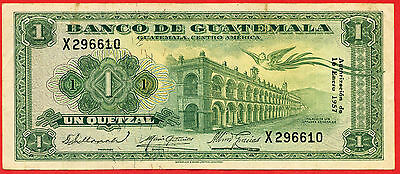 GUATEMALA  1957  1 Quetzal  ( X 610 )   World paper money bank note currency