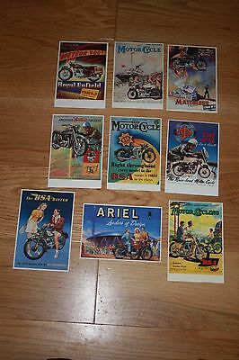 9 X VINTAGE MOTORCYCLES ADVERTISING POSTCARDS - (Poster Archive)