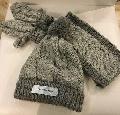 New Grey  Hat, Scarf And Mittens Set For Girl