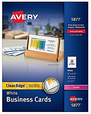 "NEW Avery 5877 Clean Edge Front/Back Business Cards 2""x3.5"" White 400 Cards/Box"