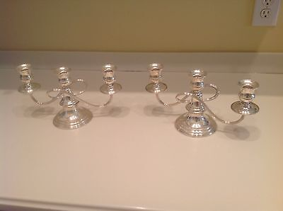 Vintage Pair Of Silver On Copper Crossarm Candelabras 3 Candles Each Perfect