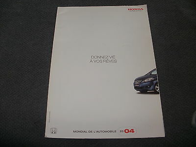 Honda  Range   Car Brochure  From 2004    French Text