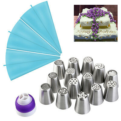 14x Russian Flower Cake Decorating Icing Piping Nozzles Tips Pastry Baking Tool