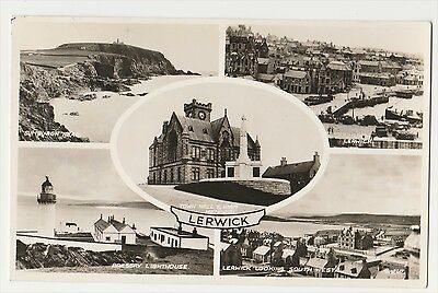 Lerwick Multi-View Postcard. Rppc. Sellafirth, Yell, Shetland Postmark