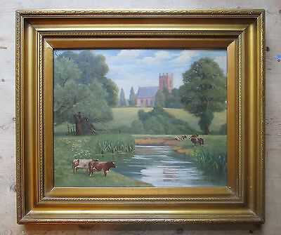 Antique Late 19th Century English Naive School Oil Painting-Cattle-Cows-Signed