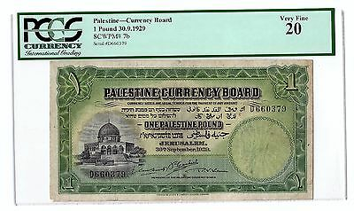 Palestine currency board 1 Pound Banknote Year 1929 PMG 20 *VERY FINE*