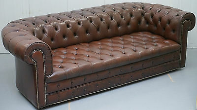 Rare 1960's Aged Brown Leather Three Seater Chesterfield Club Sofa Coil Sprung