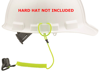 Coil Hard Hat Lanyard With Clamp, Green
