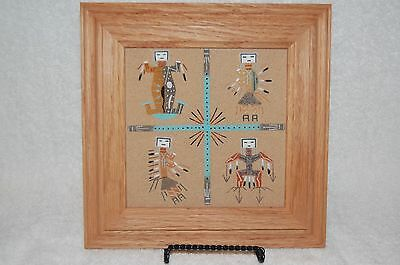 "Framed Navajo Sand Painting(untitled) Excellent Condition!Beautiful! 9"" X 9"" Oak"