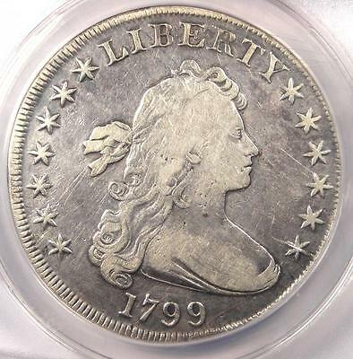 1799 Draped Bust Silver Dollar $1 - Certified ANACS F15 Details - Rare Coin!