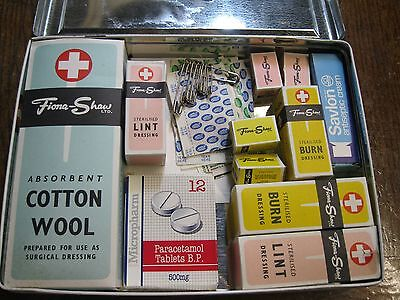 Vintage Fiona Shaw First Aid Tin Complete with Contents. Man Cave.