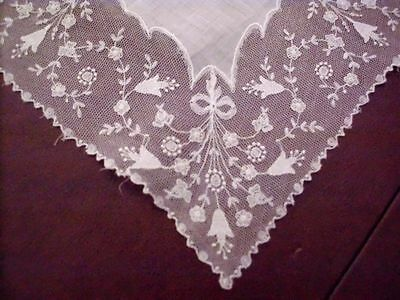 Vintage Embroidered Net Lace Handkerchief Wedding Bridal Fancy