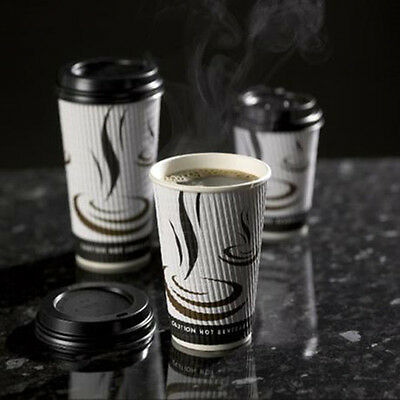 1000 x 12oz Weaved Paper Coffee Cups Kraft Ripple 3 Ply + Black Lids