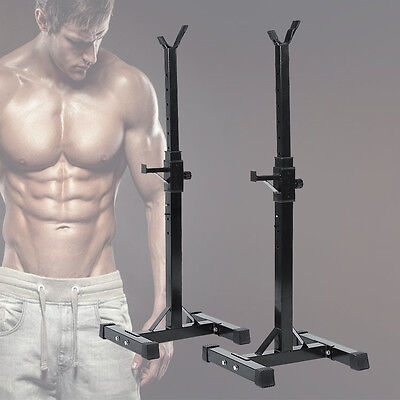Adjustable Heavy Duty Gym Squat Barbell Power Stand Press Weight Bench Free Ship