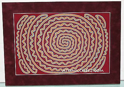 Vintage MidCentury Modern ABSTRACT Expressionist SPIRAL Stitched Fabric WALL ART