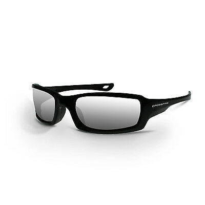 Crossfire Safety Glasses with Silver Mirror Lens, Black Frame