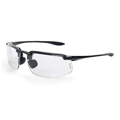 Crossfire Bifocal Safety Glasses with 2.5 Clear Lens and Black Frame