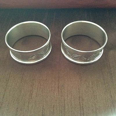 Beautiful SET OF 2 Sterling Silver Ornate Hallmarked Napkin Rings NR!