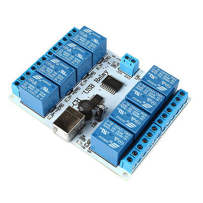 8-channel 12 V USB Relay Board Module Controller 4 Automation Robotics P7F2