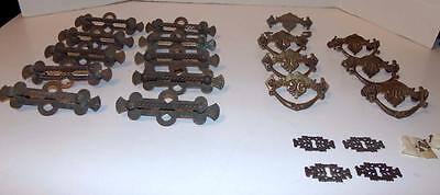 21 Piece Antique Brass Cabinet Drawer Pull Handles Keyhole Plates Hardware