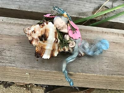 Tiny Sleeping Miniature Fairy Mermaid OOAK Pixie Captured Fairy
