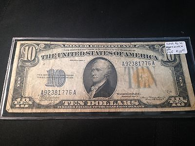 Series 1934 $10 Gold Seal Silver Certificate, North Africa Note F-VF