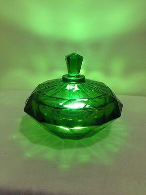 Vintage Viking Glass Diamond Green Candy with Dish Lid