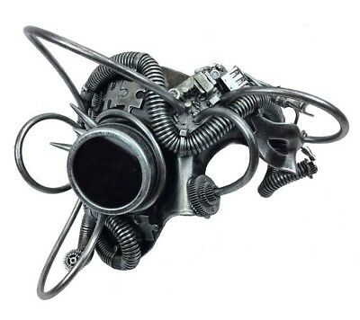 Steampunk Phantom Masquerade Mask with Chain for Men Silver M39078