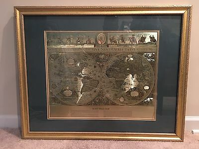 """Vintage Framed Gold Foil Blaeu Wall Map of Old and New World 34"""" By 29"""""""