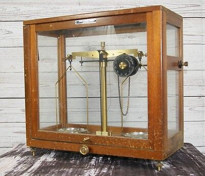 Vintage Laboratory Scientific Pharmacy Scales in Case - Griffin & George England