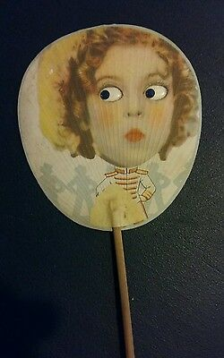 eventail ancien yeux mobiles vintage uchiwa vintage