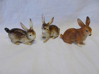 Three Vintage Brown Ceramic Bunnies / Rabbits - Japan - Great For Easter