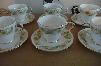 Perfect Set Of 6 Duchess Bone China Greensleeves Cups & Saucers