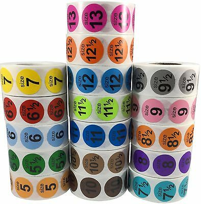 Clothing Apparel Shoe Size Stickers, 3/4 Inch Round, 500 Total, Sizes 1 thru 13