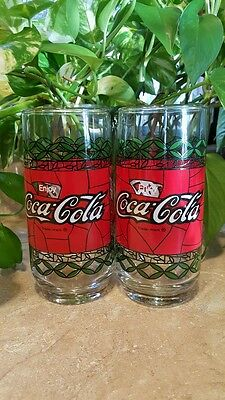Tiffany Style Stained Glass Look Coca Cola Glasses MINT CONDITION