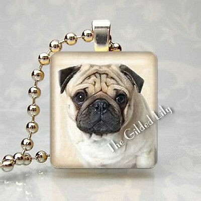 PUG DOG BREED PUPPY - Scrabble Tile Altered Art Pendant Jewelry Charm