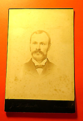 Antique 19th Century Cabinet LG Format Mustached man in Muskegon Michigan