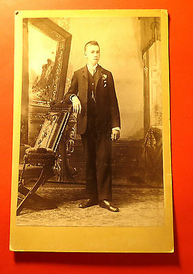 Antique 19th Century Cabinet LG Format Young Man in Muskegon Michigan