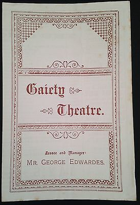 1897.  Gaiety Theatre Programme.  The Circus Girl.