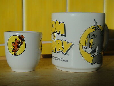 TOM & JERRY CUP MUG AND EGG CUP 1960`s A COLLECTORS ITEM BY LOEWS FOR MGM