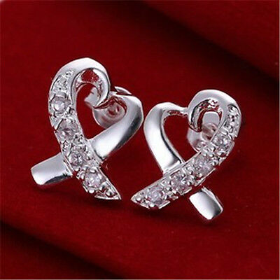 New Christams Gift Jewelry 925Solid Silver Crystal Earrings Ear stud +Boxes