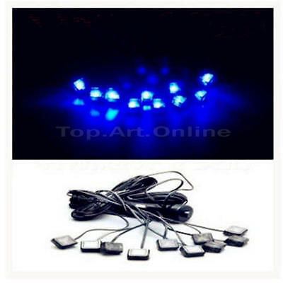 New Unique 10 In 1 12V Blue Car Atmosphere Lamp Charge LED Interior Floor Light
