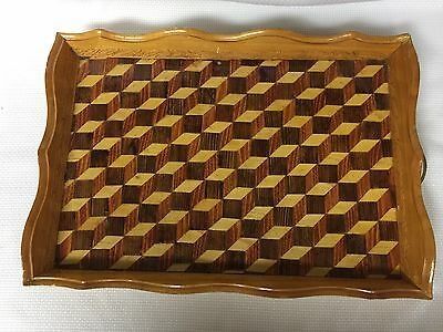 "Vintage Large Wooden Serving Tray Handmade with Handles 17"" x 12"""