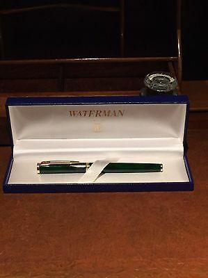 Waterman 18ct Gold Nib And Trim Forest Green Slimline Fountain Pen